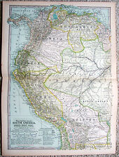 Original 1897 Map of the North Western Part of South America - Nicely Detailed