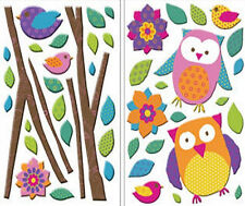 GLITTER PUFF OWLS wall stickers 46 colorful 3D decals branches flower bird decor