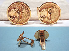 Horse Head Cufflinks Solid 14K Yellow Gold