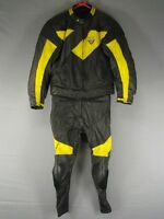 2 PIECE FRANK THOMAS BLACK & YELLOW LEATHER BIKER SUIT WITH PROTECTORS 42 INCH