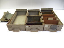 Lot of Three Vintage Used Industrial Metal File Cabinet Drawers with Dividers