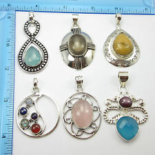 Indian Seller !!! 6 Pcs Pendants Free Shipping Silver Plated Jewellery