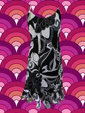 G211 60er 70er Jahre Retro Panton Ära Muster Kleid Hippie schwarz weiß Gr. 38