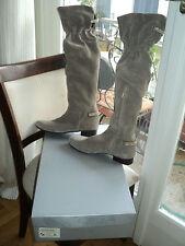 DESIGNER MOCASSINO CIGAR BEIGE STRASS SUEDE OVER KNEE BOOTS*EU38*UK5*US7.5