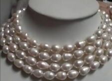 """REAL NATURAL 10-11MM WHITE FRESHWATER CULTURED PEARL LONG NECKLACE 64"""" AAA"""
