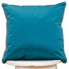Teal blue cushion cover Luxury Turquoise Quality upholstery satin Corded Piped