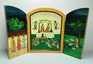 Mexican Vintage Folk Art Nativity Scene Triptych SIGNED Painted Wood Christmas