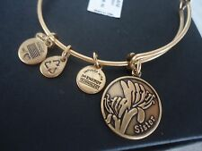 Alex and Ani Because I Love You SISTER Russian Gold Bangle New W/ Card & Box