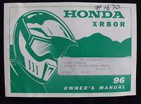 GENUINE 1996 HONDA 80 XR80R DIRT BIKE MOTORCYCLE OPERATORS MANUAL VERY GOOD