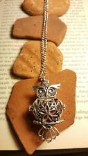 Handmade necklace charm lucky owl, essential oil diffuser locket , new