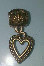 Ciondolo metallico a cuore, color bronzo, nuovo