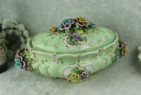 Huge italian Majolica centerpiece lidded bowl relief flowers