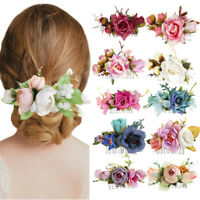 Boho Ladies Flower Hair Clips Slide Pin Hair Comb Wedding Hair Accessories Party