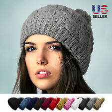 POM-POM Knit Slouchy Baggy Beanie Oversize Winter Hat Ski Cap Skull Womens 48d8f128a