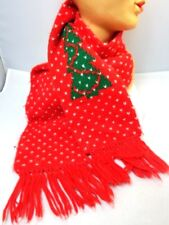 Vintage 1970s Hansen Red Christmas Tree Winter Knit Wrap Scarf Ugly Retro Party