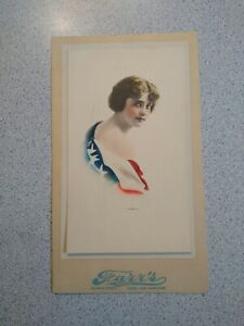 """Original Victorian Lithograph Woman with flag """"America"""" 1919"""