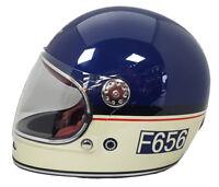 VIPER F656 RETRO VINTAGE RETRO FIBREGLASS FULL FACE MOTORCYCLE HELMET BLUE