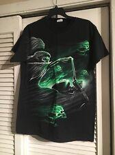 Men's Grim Reaper Skull T-Shirt Size M 100% Cotton Black