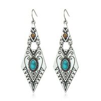 Handcrafted Native American Indian Earrings Pierced Silver Torquoise Dangle Drop