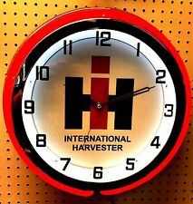"18"" International Harvester IH Sign Double Neon Clock"