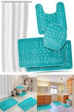 Bathroom Rugs Set Memory Foam Bath Mats 4 Pc Extra Soft Shower Liner Teal Blue