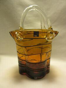 Vase leonardo fait main verre panier anses orange