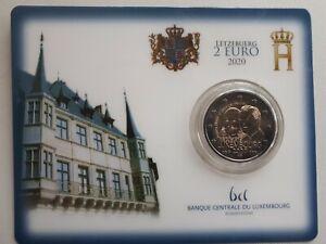 2 Euro Luxemburg 2020, Coincard,  Prinz Henri v. Oranien-Nassau,  Mzz. Löwe