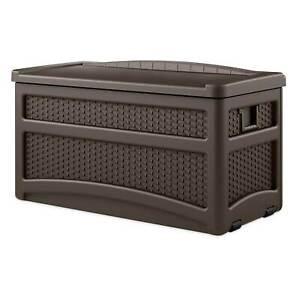 Suncast DBW7500 73 Gallon Outdoor Patio Storage Chest with Handles & Seat, Java