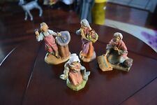 """Set Of 4 Fontanini Nativity Figure 5"""" Scale Sculptor, 2 Ladies And Other Sitting"""
