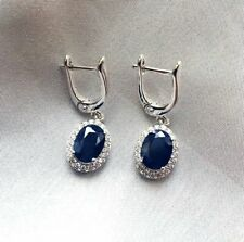 Sapphire Halo With CZ Dia 925 Silver Drop Womens Earrings 14K White Gold Plated