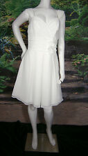 ANDREW ADELA WEDDING GOWN DRESS SHORT SIZE 8  FLOWER LINED IVORY