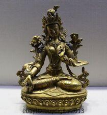 "9"" Tibet Tibetan Buddhism Bronze 24K Gold 7 eyes White Tara Goddess Buddha"