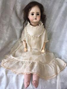 "Antique 22"" Doll Paper Mache Socket Head & Body~Cloth Feet~Wood Arms~Brown Eyes"