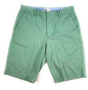J Crew Men's Flat Front Lightweight 100% Cotton Green Chino Bermuda Shorts 32