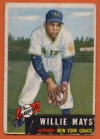 1953 Topps #244 SP Willie Mays LOW GRADE CREASE New York Giants FREE SHIPPING