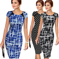 Women Lady Printed O-Neck Bodycon Short Sleeve Party Cocktail Pencil Mini Dress