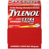 TYLENOL Extra Strength 500mg Pain Relief  50 Pouches of 2 Caplets