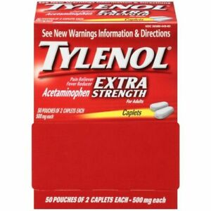 100 TYLENOL Extra Strength 500mg Pain Relief Caplet - 2 Pack