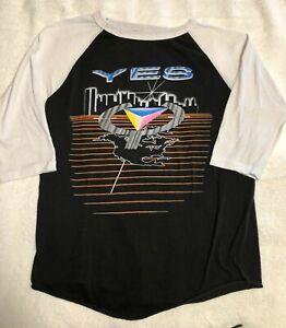 """Vintage YES 1984 Rock Concert Tour Raglan T-Shirt """"9012Live Tour"""" ORIGINAL"""