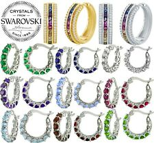 18K White Gold Rainbow Multi Gemstones Diamond Oval Hoop Earrings ITALY MADE