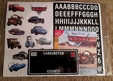 Pixar Disney Cars Movie Walmart Promotional Advertising Stickers License Plate