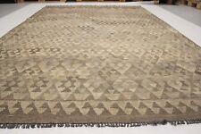 10'1x6'8 Handwoven Flat Weave Afghan Tribal Kilim Gray Wool Kelim Area Rug #6106