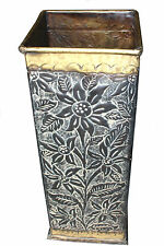 BEAUTIFUL HAND CARVED SOLID BRASS SQUARE UMBRELLA STAND