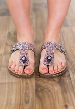 Womens Glitter Thong Open Toe T Strap Slide Flat Sandal Flip Flops Slipper Shoes