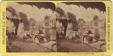Exposition universelle de Paris 1878 La Grotte Stéréo Vintage Albumine