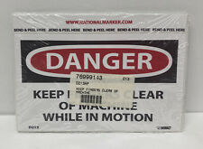 National Marker Danger Keep Fingers Clear of Machines While In Motion Stickers