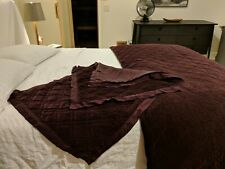 Pottery Barn Washed Velvet full queen quilt 2 Euro shams Napa Grape Silk Diamond