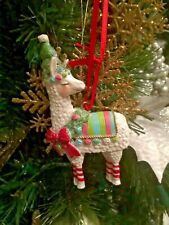 Llama Wearing Tree Hat Ornament. Christmas Decor of Gift