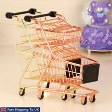 Mini Supermarket Iron Shopping Trolley Kids Pretend Role Play Desk Toy  D1