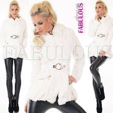 New Trendy Belted Women's Jacket Plush Coat Outerwear Size 8 10 12 14 S M L XL